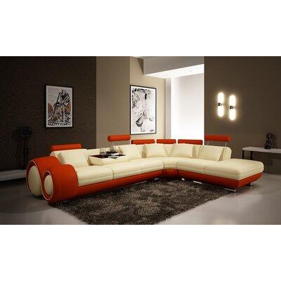 Melrose Sectional Upholstery: Ivory/Orange