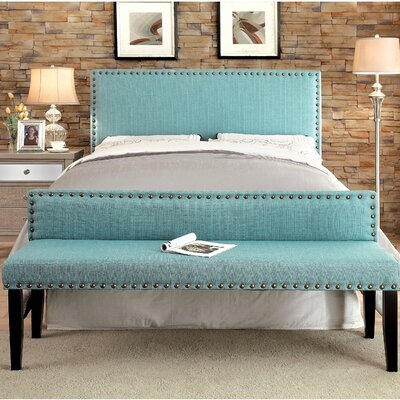 Marina Upholstered Panel Headboard Upholstery: Blue, Size: Twin