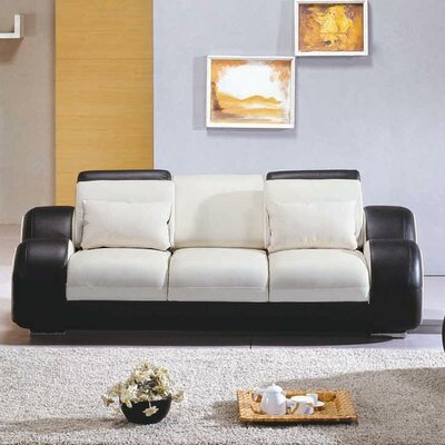 Rollingstone Leather Reclining Sofa Upholstery: White / Black
