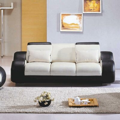 MF4088-Sofa-Black/red Set KUI1855 Hokku Designs Hematite Leather Sofa