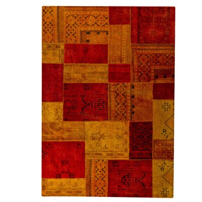 Renaissance Hand-Knotted Orange/Red Area Rug Rug Size: 52 x 76