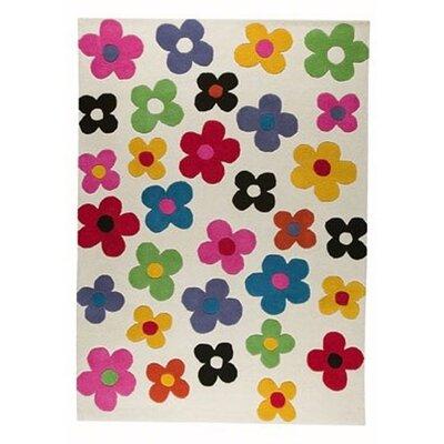 Milan White Blossom Rug Rug Size: 56 x 710
