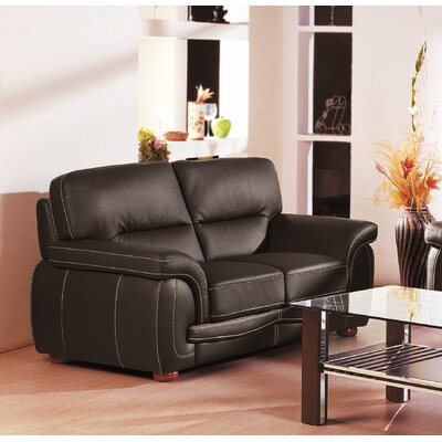Leather Loveseat Upholstery: Black
