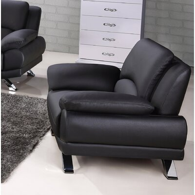 Caelyn Leather Armchair Upholstery: Black