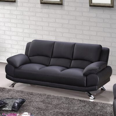 Leather Sofa Upholstery: Black