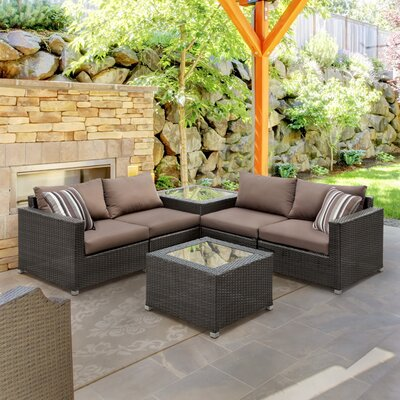 Edine 6 Piece Seating Group with Cushions Fabric: Dark Brown