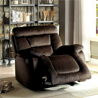 Dascomb Manual Glider Recliner Upholstery: Brown