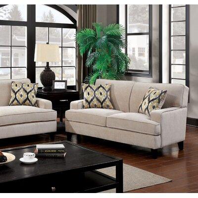 Leyna Modern Standard Loveseat Upholstery: Ivory