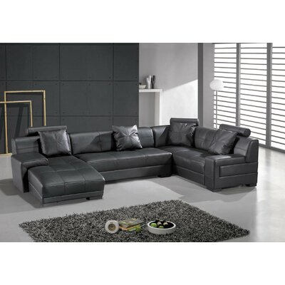 Houston Leather Modular Sectional Upholstery: Black, Orientation: Left Hand Facing