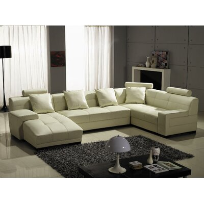 Houston Leather Sectional Upholstery: Ivory, Orientation: Left Hand Facing