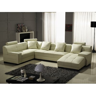 Houston Leather Modular Sectional Upholstery: Ivory, Orientation: Right Hand Facing
