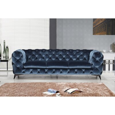 Vennie Upholstered Chesterfield Sofa Color: Blue