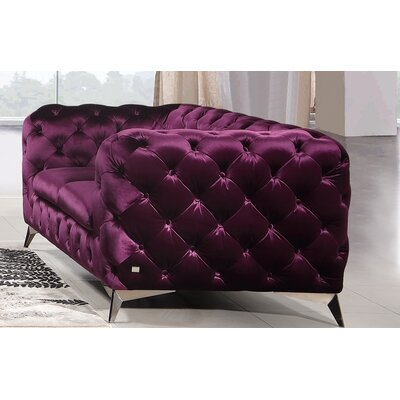 Vennie Chesterfield Loveseat Upholstery: Purple