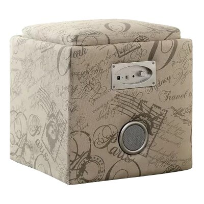 Reverb Cube Ottoman with Bluetooth Speakers Upholstery: Print