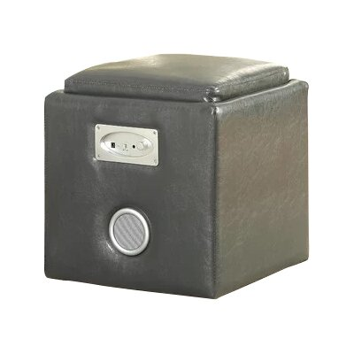 Reverb Cube Ottoman with Bluetooth Speakers Upholstery: Gray