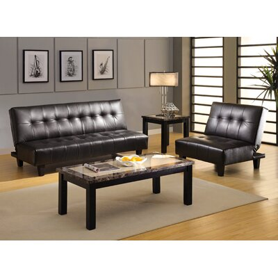 Belmont Leatherette Convertible Sofa and Chair Set