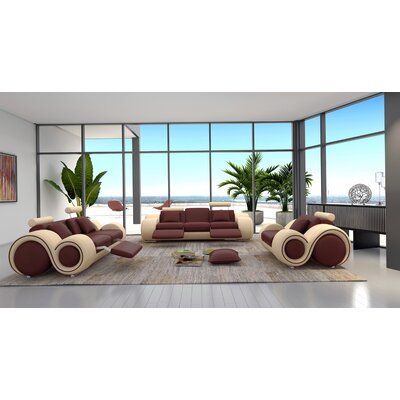 Hematite 3 Piece Leather Living Room Set Upholstery: Brown / Beige