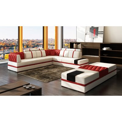 Magdalena Modular Sectional Upholstery: White / Red