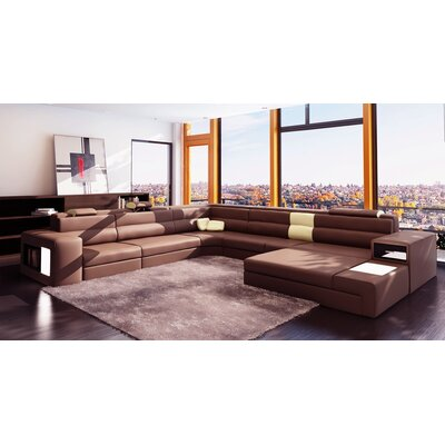 Camden Sectional Upholstery: Brown / Beige