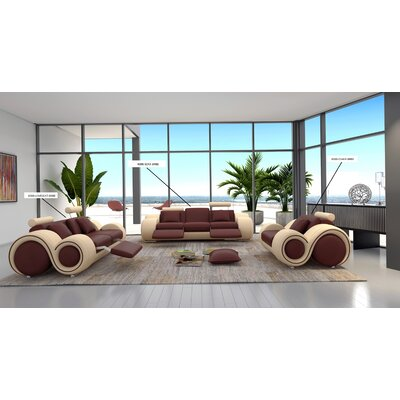 Hematite Leather Loveseat Upholstery: Brown / Beige