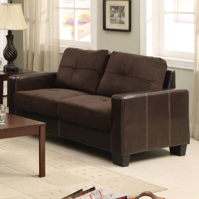Townsend Leather Loveseat Upholstery: Chocolate