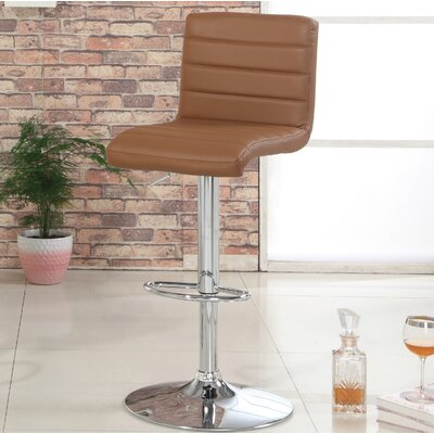 Elenore Adjustable Height Swivel Bar Stool Upholstery: Camel
