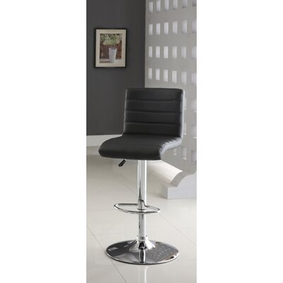 Elenore Adjustable Height Swivel Bar Stool Upholstery: Black
