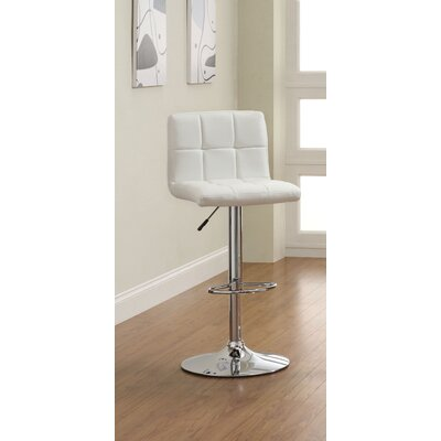 Pure Adjustable Height Swivel Bar Stool Upholstery: White