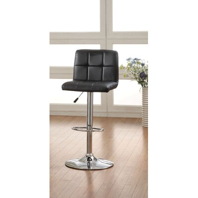Pure Adjustable Height Swivel Bar Stool Upholstery: Black