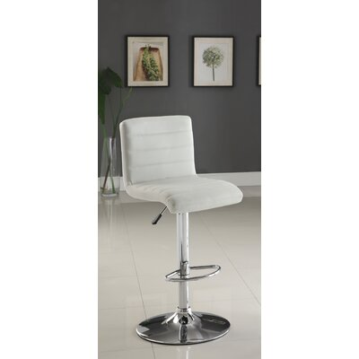 Elenore Adjustable Height Swivel Bar Stool Upholstery: White