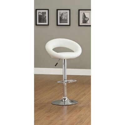 Theory Adjustable Height Swivel Bar Stool Finish: White