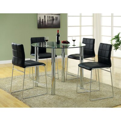Narbo 5 Piece Counter Height Dining Set Upholstery Black