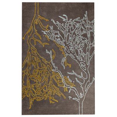 Branches Grey Area Rug Rug Size: 52 x 76