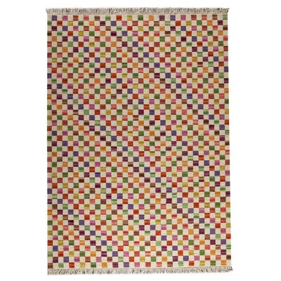 Checkers White/Multi Area Rug Rug Size: 66 x 99