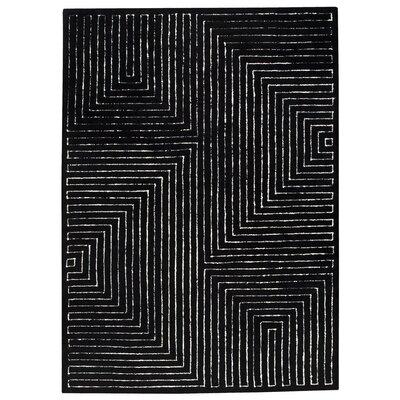 Maze Black/White Area Rug Rug Size: 83 x 116