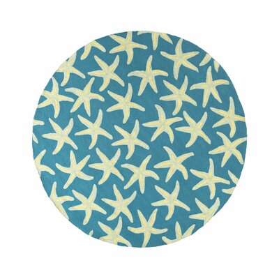 Rain Teal/Blue Indoor/Outdoor Area Rug Rug Size: Round 8