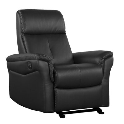 Electric Push Button Recliner Upholstery: Black