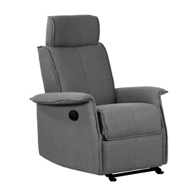 Electric Push Button Recliner Upholstery: Gray