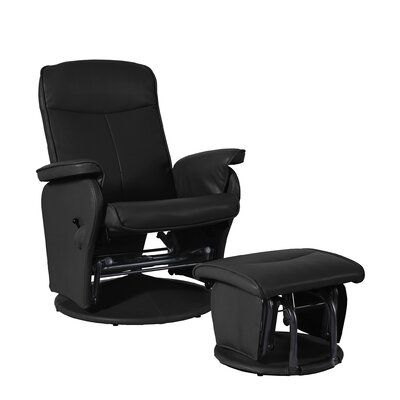 Bonded Leather Recliner and Ottoman Set Upholstery: Black