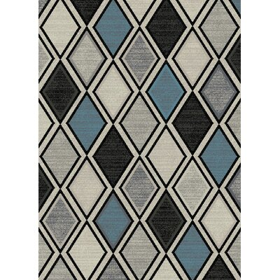 Galleria Diamond Gray/Blue Area Rug Rug Size: 53 x 73