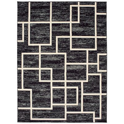 Galleria Maze Black/Cream Area Rug Rug Size: 53 x 73