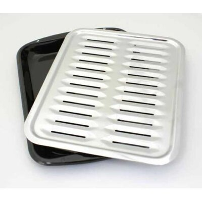 2 Piece Heavy Duty Porcelain Full Size Broiler Pan Set