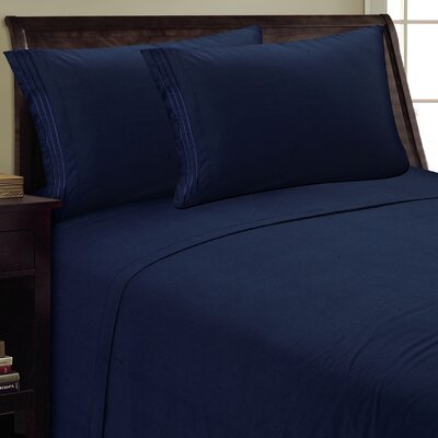 Three Lines Sheet Set Color: Navy, Size: Queen