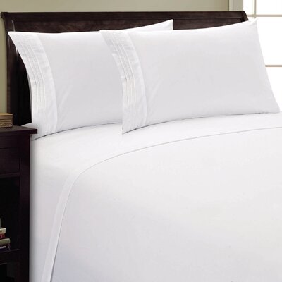 Three Lines Sheet Set Size: Twin, Color: White