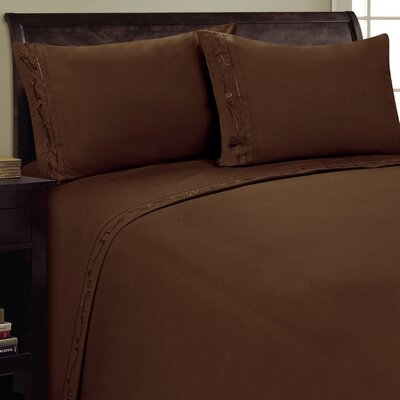 Sweet Pea Sheet Set Size: Full, Color: Chocolate