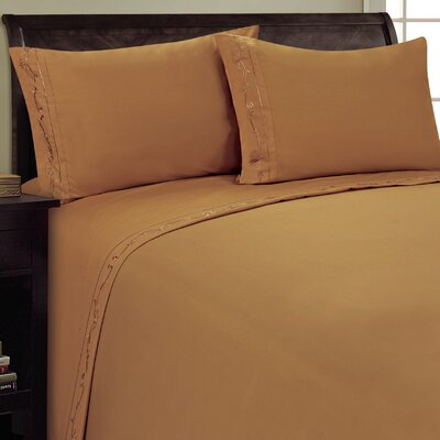 Sweet Pea Sheet Set Size: Full, Color: Light Brown