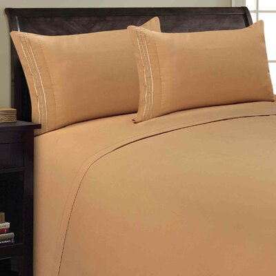 Three Lines Sheet Set Size: Queen, Color: Camel