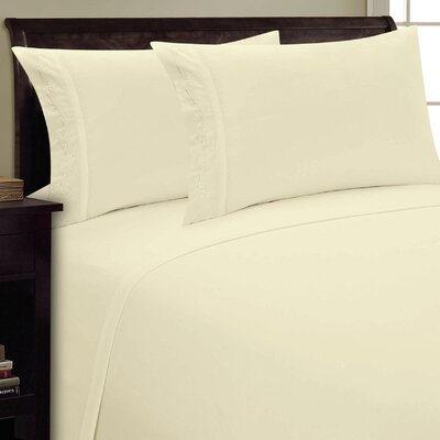 Sweet Pea Sheet Set Size: King, Color: Cream