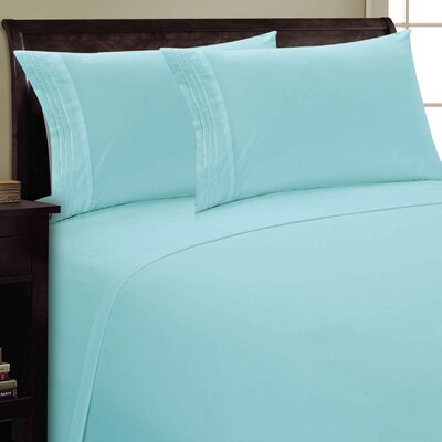 Three Lines Sheet Set Size: Queen, Color: Aqua