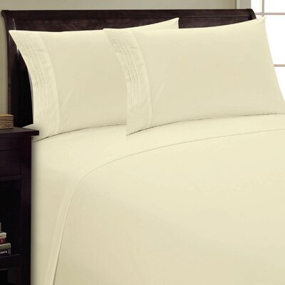 Three Lines Sheet Set Size: Twin, Color: Cream